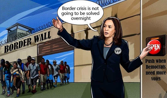 kamala harris solved border wall push when more democrat votes needed