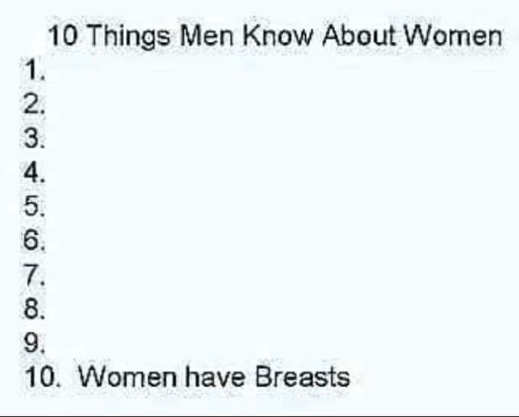 list 10 things women know men they have breasts
