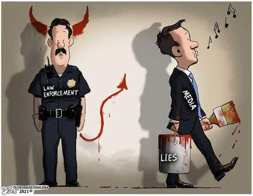 media painting lies devil police