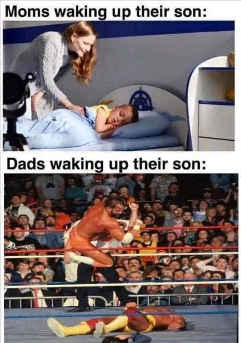 moms vs dads waking up kid wrestler