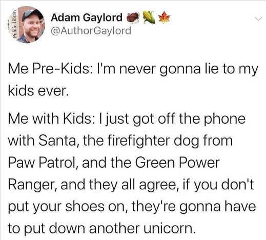 tweet adam gaylord never lie to kids unicorn rangers