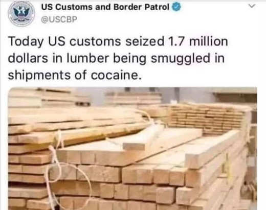 tweet us customs lumber hid in cocaine