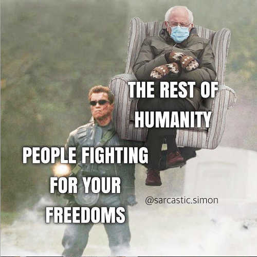 arnold people fighting for freedoms bernie rest of humanity chair mittens
