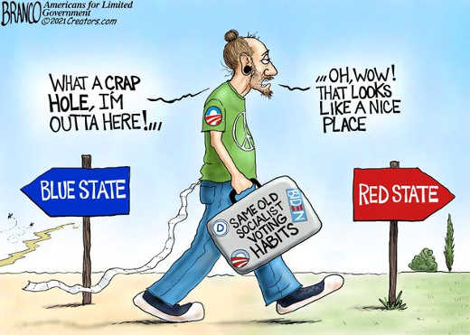 blue state shit hold socialist leaving for red state