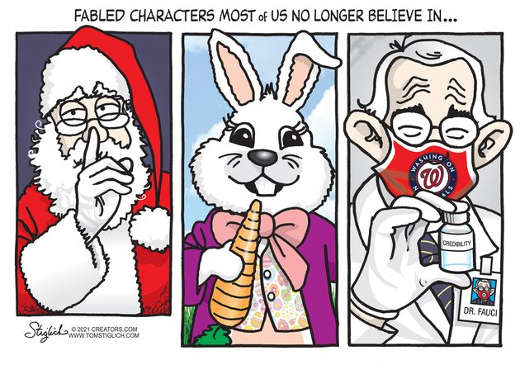 fabled characters most of us no longer believe in santa easter bunny dr fauci