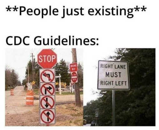 people existing cdc signs must turn left right