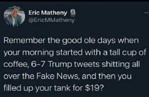 tweet eric matheny days trump tweets fake news cheap gas