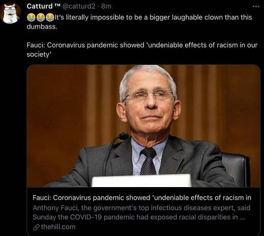 tweet fauci coronavirus pandemic effects racism