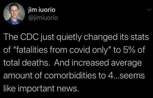 tweet jim iuorio cdc changed stats fatalities covid only comorbities