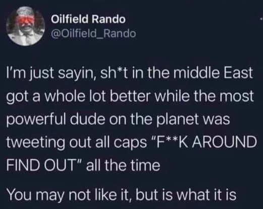 tweet rando middle east when trump tweeting all caps