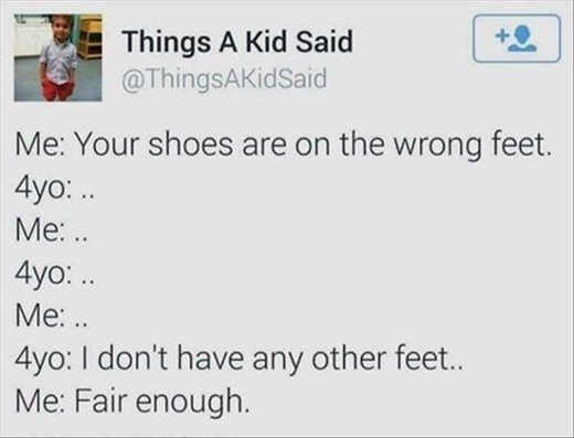 tweet shoes are on wrong feet 4 year old