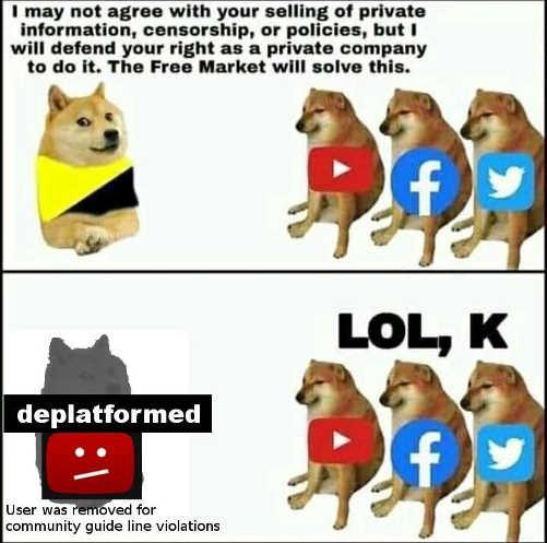 youtube facebook twitter free market will solve censorship deplatformed