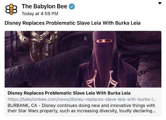 babylon bee replaces slave leia with burqa jabba