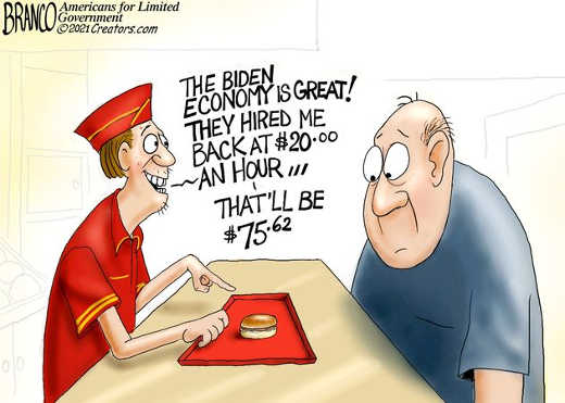 fast food biden economy is great inflation hired 20 an hour that will be 75.62