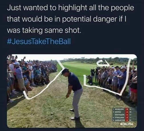 golfer just wanted to highligh people in danger crowd