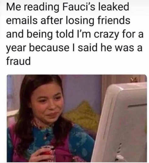 me reading fauci leaked emails losing friends year fraud