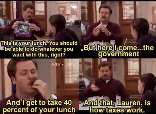 ron swanson parks this is lunch government eating 40 percent