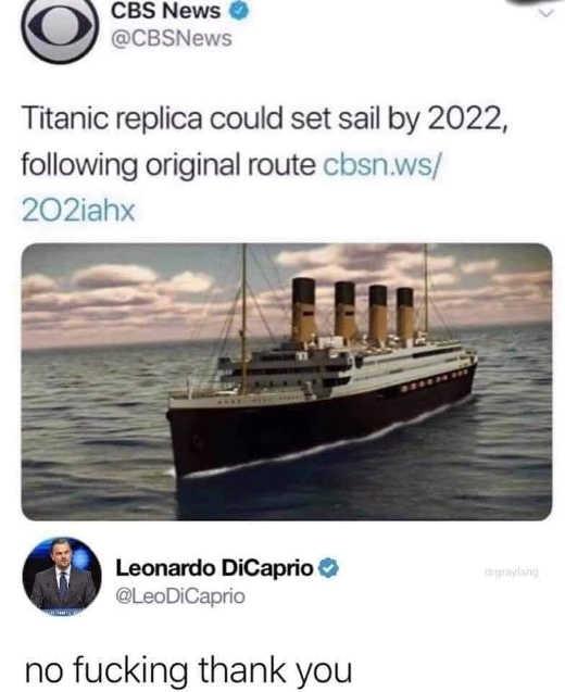 tweet cbs titantic replica 2022 dicaprio no thank you