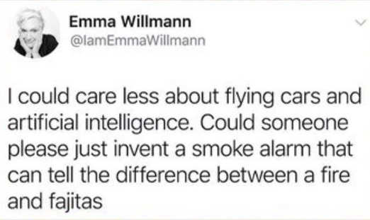 tweet emma willmann could care less flying cars smoke alarm cooking vs fire