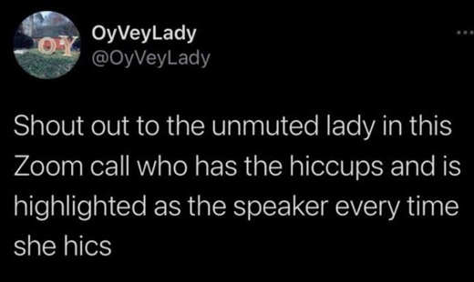 tweet ovveylady shout out zoom unmuted hiccups