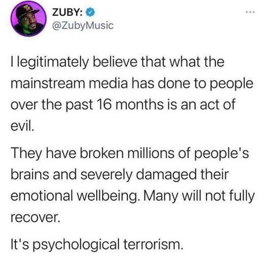 tweet zuby mainstream media broken emotional wellbeing psych terrorism