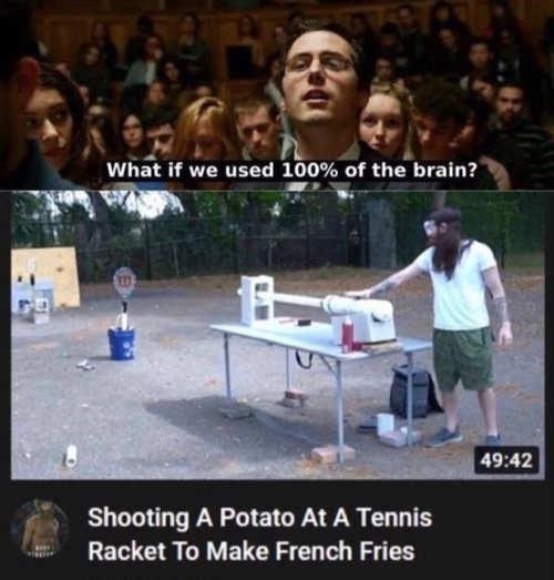 use 100 percent of brain shoot potato through tennis racket fries