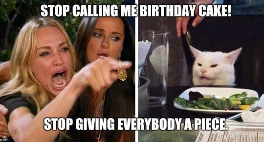 angry lady cat smude stop calling me birthday cake stop giving everybody piece