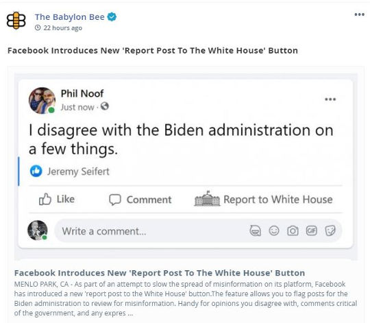 babylon bee facebook introduces new report post to white house button