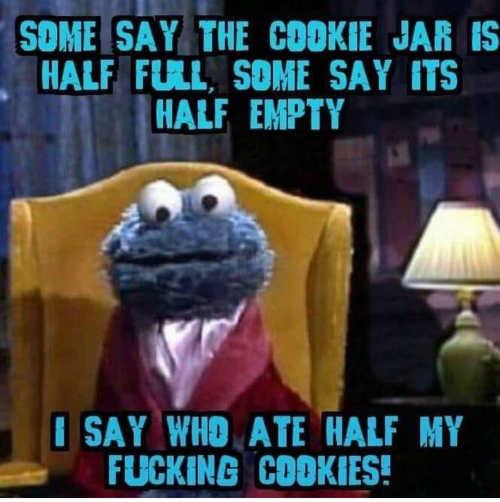 cookie monster jar half empty full who ate all cookies