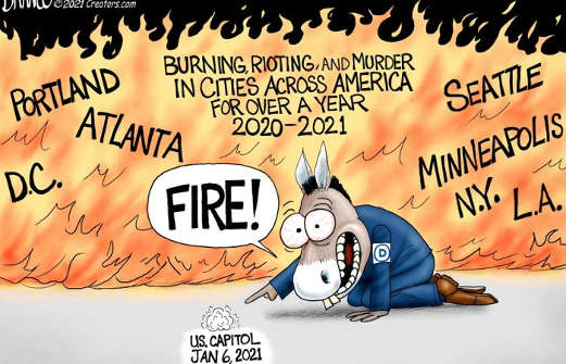 democrats media burning riots murder across america obsession january 6th capitol