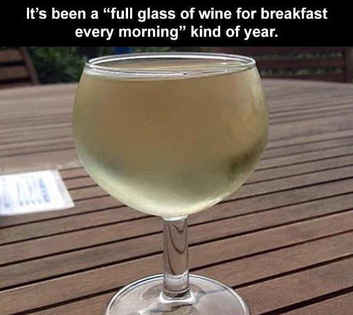 full glass of wine for breakfast kind of year