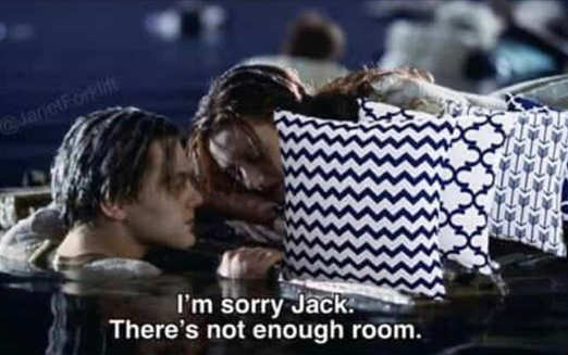 im sorry jack rose titanic not enough room throw pillows