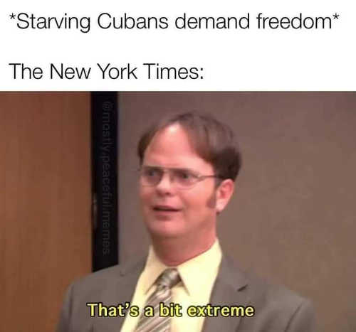 office dwight starving cubans demand freedom new york times thats bit extreme