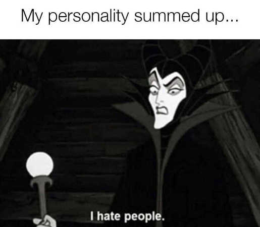 personality summed up hate people