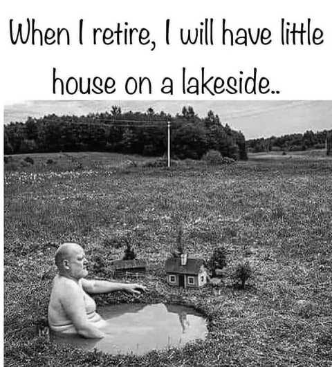 retire with house on lakeside puddle