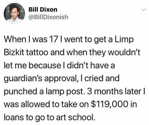 tweet bill dixon tattoo guardian approval loans art school