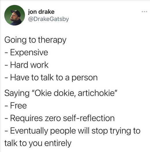 tweet drake therapy expensive okie dokie people stop bugging you entirely