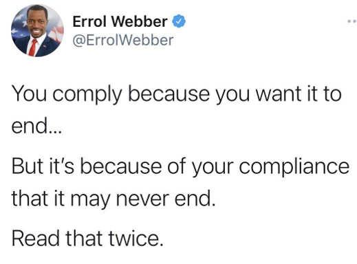 tweet errol webber covid pandemic end non compliance