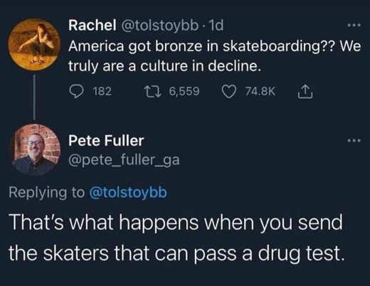 tweet fuller america bronze skateboarding send skaters pass drug test
