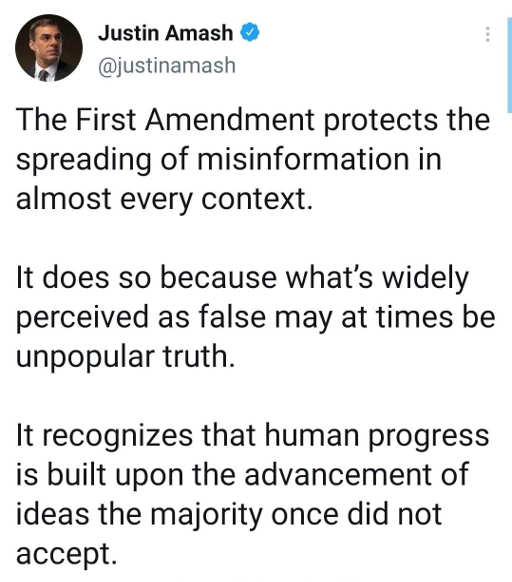tweet justin amash 1st amendment misinformation unpopular truth