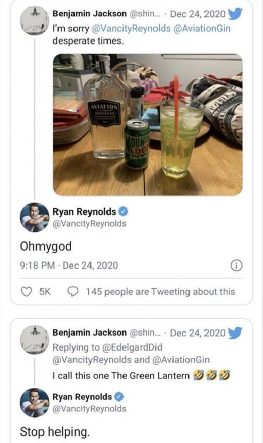tweet ryan reynolds mountain dew tequila green lattern