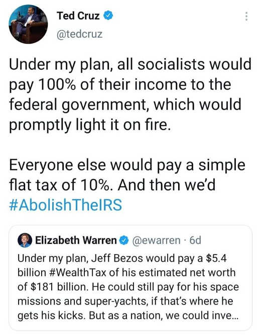 tweets ted cruz elizabeth warren irs tax playns socialists