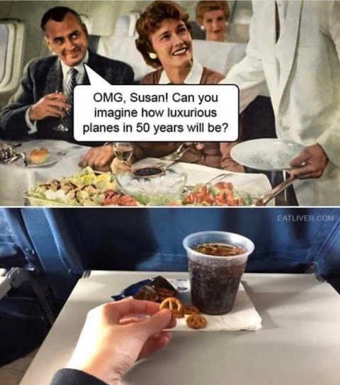 airplane imagine how luxurious planes 50 years pretzels soda