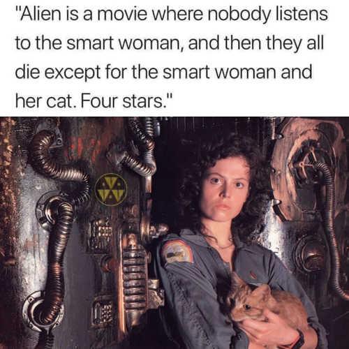 alien nobody listens smart woman all die except her cat