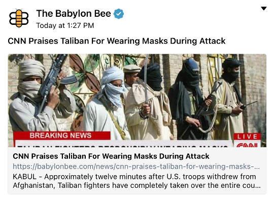 babylon bee cnn praises taloban for wearing masks