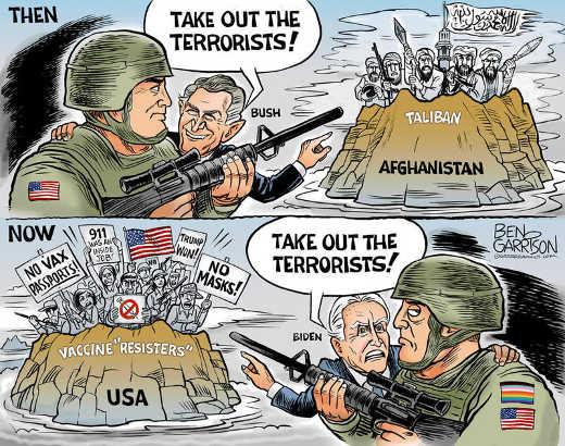 bush take out terrorists afghanistan biden vaccine resisters no masks tump won usa