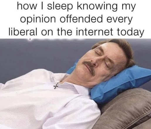 how i sleep knowing my opinion offended every liberal on the internet today