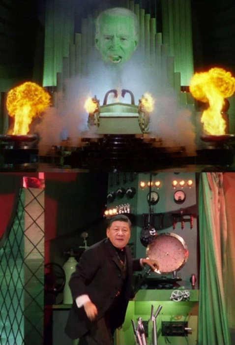 joe biden wizard oz china man behind curtain