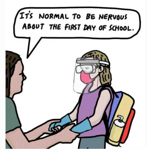 kid normal be nervous first day of school facemask shield