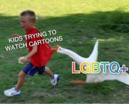 kids trying to watch cartoons lgbtq goose